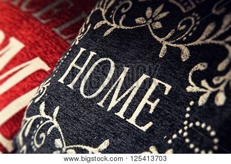 Cushion with home text