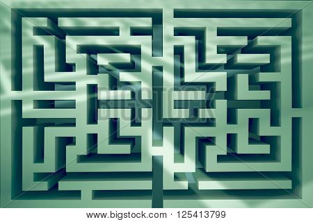 Maze against entrance to difficult maze puzzle