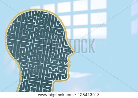 Maze brain in head against room with large window showing city