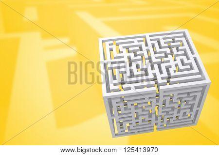 Maze cube against difficult maze puzzle