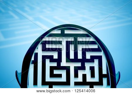 Maze as brain against entrance to difficult maze puzzle