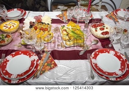 Romanian traditional food for Christmas on table