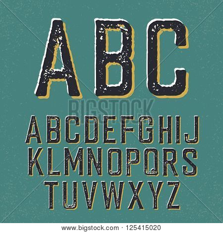 Vintage retro typeface. Stamped alphabet, with shadow