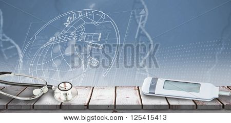 Glucose monitor against view of dna