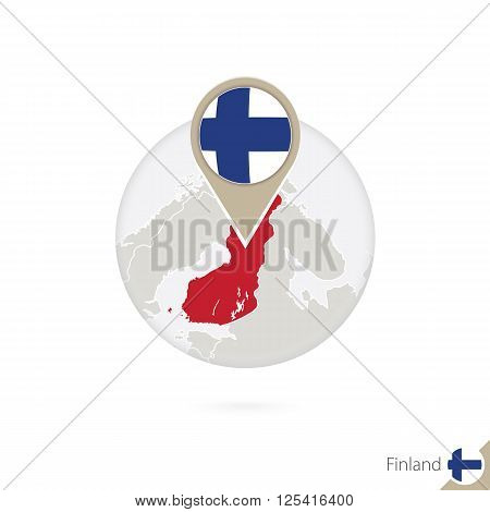 Finland Map And Flag In Circle. Map Of Finland, Finland Flag Pin. Map Of Finland In The Style Of The