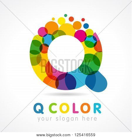 Colored Q logo. Question business
