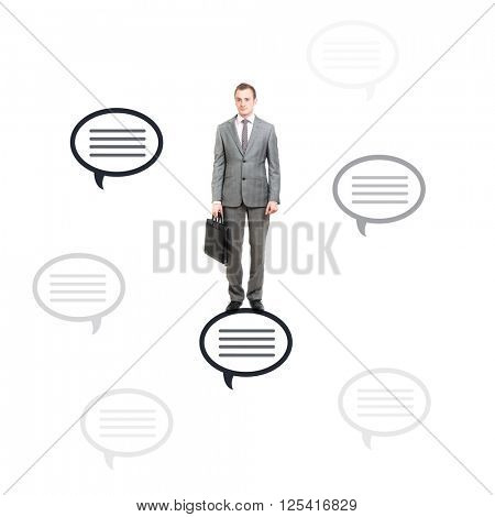 Businessman with dialogue