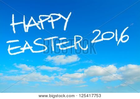happy easter 2016 written in the sky with contrails