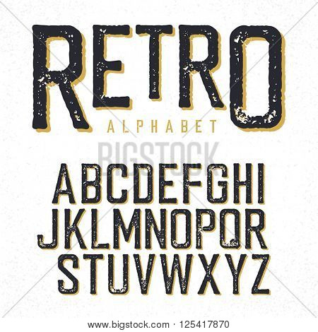 Retro typeface. Stamped alphabet, shadowed. Isolated on white