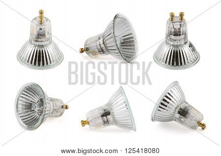 Halogen lamp isolated over white background, set of six foreshortenings