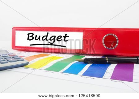 Word budget underlined against business desk with documents