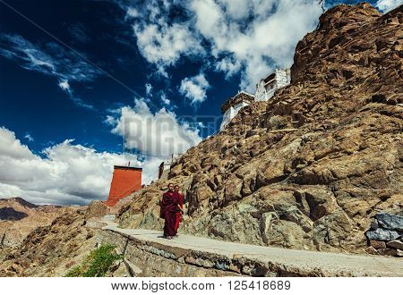 LEH, INDIA - SEPTEMBER 3, 2011: Two Buddhist monks walking near Namgyal Tsemo Gompa in Leh