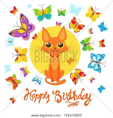 Birthday Card With Cat And Butterfly. Greeting Card. Sweet Childish Card With Lovely Cat And Butterfly In Vector. Birthday Card With Cat Funny. Birthday Card With Cats To Print. Relaxing Cat.