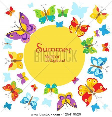 Summer Background. Vector Butterflies Background Design. Butterfly Vector Design Illustration. Cartoon Style Butterfly Background. Butterfly Background Design. Butterfly Template. Butterfly Garden.