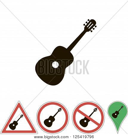 signs of the  acoustic guitars on white