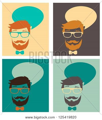 Man With A Beard Glasses And Balloon For Text. Different Colors Vector Illustrations. Man With A Beard And Long Hair. Man With A Beard Drawing. Big Man With A Beard. Man With A Glasses.