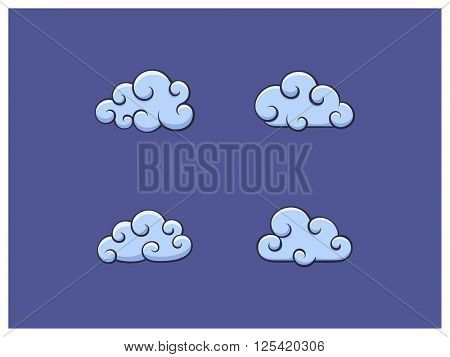 Vector illustration of cloud icons