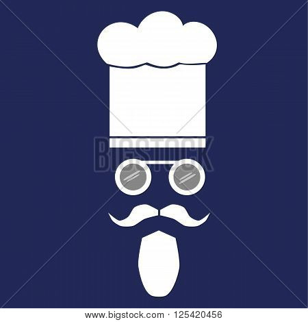 Facial features of a cook with moustache, beard and spectacles wearing a chef hat