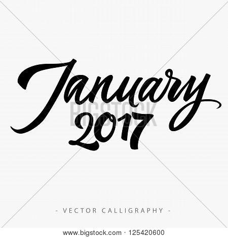 Black calligraphic January twenty seventeen  inscription on white background