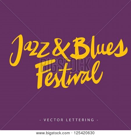Yellow jazz and blues festival inscription isolated on purple background