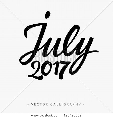 Black calligraphic July twenty seventeen  inscription on white background