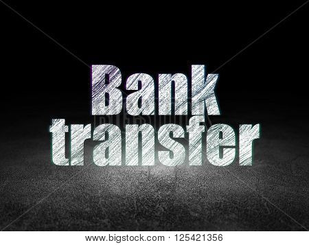 Currency concept: Bank Transfer in grunge dark room