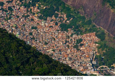 Biggest Slum in South America, Favela da Rocinha, in Rio de Janeiro, Brazil