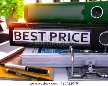 Black Office Folder with Inscription Best Price on Office Desktop with Office Supplies and Modern Laptop. Best Price Business Concept on Blurred Background. Best Price - Toned Image. 3D.