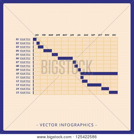 Multicolored editable template for timeline Gantt chart on beige background