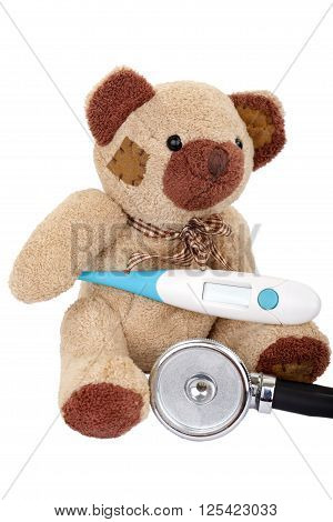 Sick teddy bear needs a medical treatment