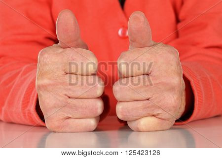 Close up of a wrinkled elderly hand