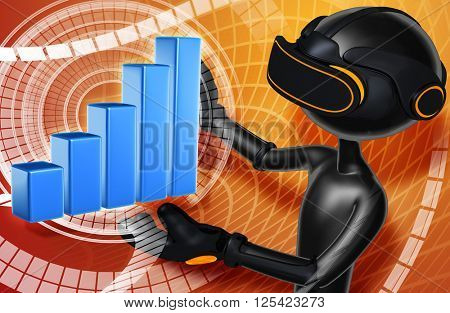 Virtual Reality VR Bar graph 3D Illustration