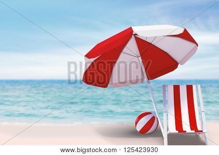 Image of sun lounger and sunshade against beach scene