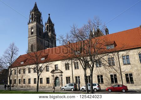 MAGDEBURG, GERMANY - April 2, 2016: the historic Magdeburg Cathedral, the landmark of the city. The Magdeburg Cathedral is the first cathedral in the Gothic style in Germany