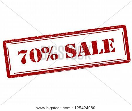 Rubber stamp with text seventy percent sale inside vector illustration