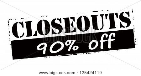Rubber stamp with text closeouts ninety percent off inside vector illustration