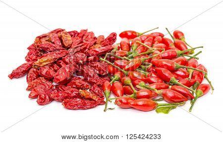 Heap Of Ripe And Dried Red Peppers Piri-piri