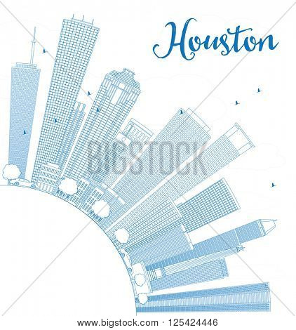 Outline Houston Skyline with Blue Buildings. Business Travel and Tourism Concept with Copy Space. Image for Presentation Banner Placard and Web Site.