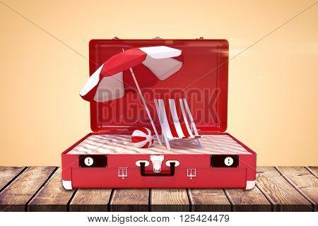 Image of a suitcase against orange background