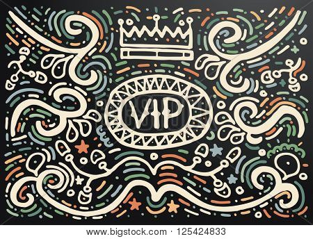VIP. Hand drawn vintage print with decorative outline ornament. Vintage background. Isolated on black