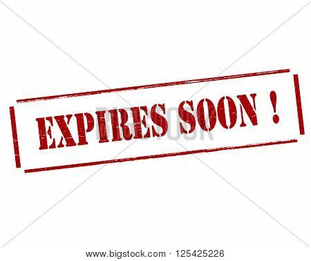 Rubber stamp with text expires soon inside vector illustration
