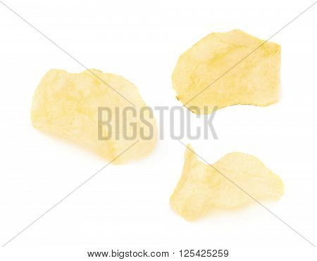 Yellow potato chips isolated over the white background, set of three different images