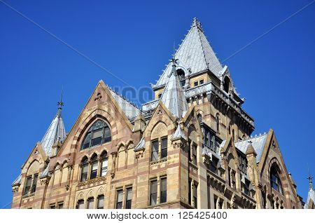Syracuse Savings Bank Building was built in 1876 with Gothic style at Clinton Square in downtown Syracuse, New York State, USA. Now this building is a US National Register of Historic Places.
