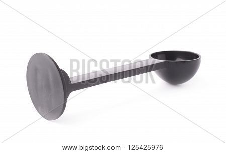 Black plastic espresso coffee tamper isolated over the white background