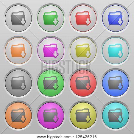 Set of Folder download plastic sunk spherical buttons.