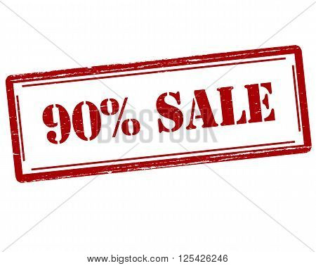 Rubber stamp with text ninety percent sale inside vector illustration