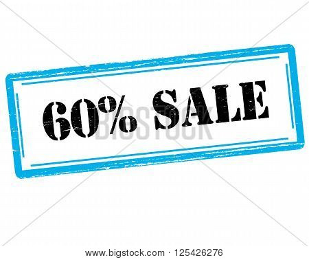Rubber stamp with text sixty percent sale inside vector illustration