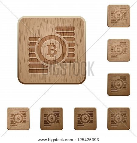 Set of carved wooden bitcoins buttons in 8 variations.