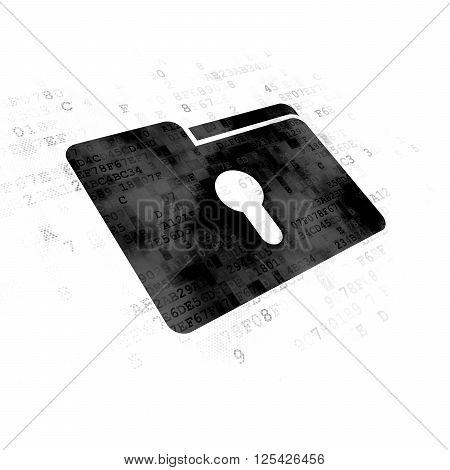 Business concept: Folder With Keyhole on Digital background