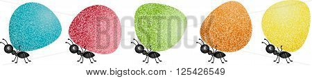 Scalable vectorial image representing a ants carrying gumdrops, isolated on white.